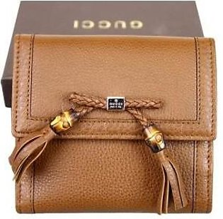 Gucci Women's Brown Bamboo Tassel French Leather Wallet