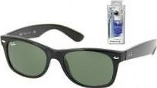 Ray Ban RB2132 622 55mm Black Rubber New Wayfarer Sunglasses Bundle - 2 Items