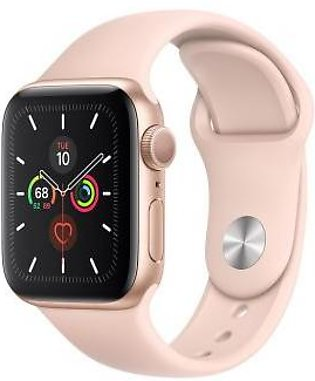 Apple Watch Series 5 44mm GPS Gold Aluminum Case with Pink Sand Sport Band MWVE2