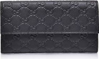 Gucci Black Guccissima Leather Continental Flap Wallet