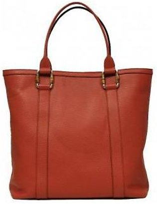 Gucci Bamboo Top Handle Large Red Coral Leather Handbag Tote Bag