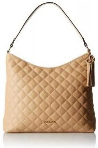 Calvin Klein Quilted Leather Hobo Bag Nude
