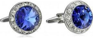 Stacy Adams Men's Silver Royal Crystal Rondell Cuff Link