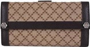 Gucci Women's Beige Jacquard Diamante Charmy Continental Wallet W/Coin Pocket