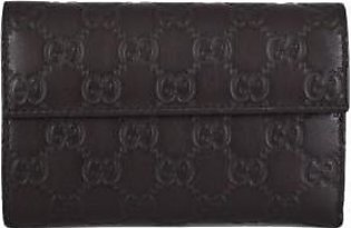 Gucci Women's Brown Leather GG Guccissima French Wallet W/Coin Pocket
