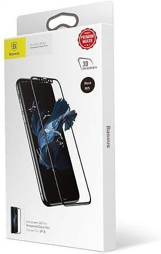 Baseus Silk Screen 3D arc temperd glass for iPhone X (Black)