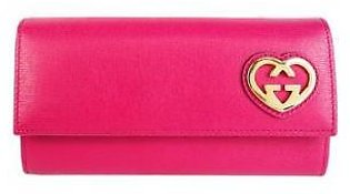 Gucci Takeru Gucci Wallet Heart Logo Leather Hot Pink Gold 251861 Wallet