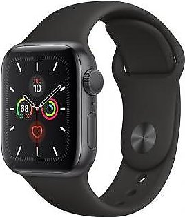 Apple Watch Series 5 44mm GPS Space Gray Aluminum Case with Black Sport Band MWVF2