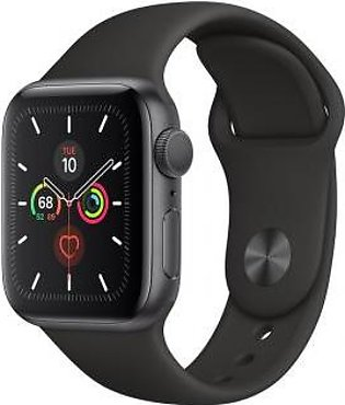Apple Watch Series 5 44mm GPS Space Gray Aluminum Case with Black Sport Band ...