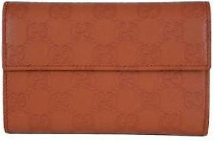 Gucci Women's Orange Leather GG Guccissima French Wallet W/Coin Pocket