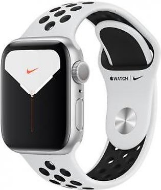 Apple Watch Series 5 44mm GPS Silver Aluminum Case with Pure Platinum/Black N...