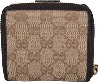 Gucci Women's Beige Canvas GG Guccissima French Zip Wallet W/Coin