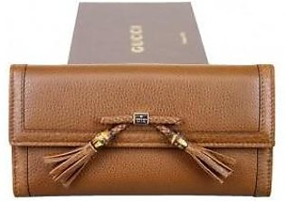 Gucci Women's Brown Bamboo Tassel Leather Wallet