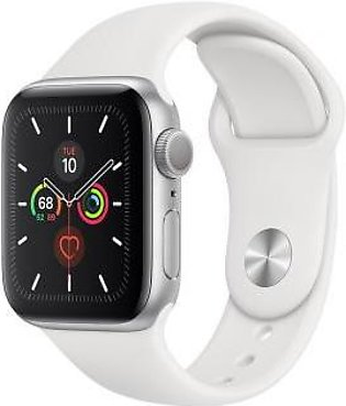 Apple Watch Series 5 44mm GPS Silver Aluminum Case with White Sport Band MWVD2