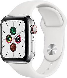 Apple Watch Series 5 40mm GPS + Cellular Stainless Steel Case With White Sport Band
