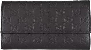 Gucci Women's Black Leather GG Guccissima Continental Wallet W/Coin Pocket