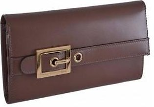 Gucci Lady Buckle Brown Leather Continental Wallet