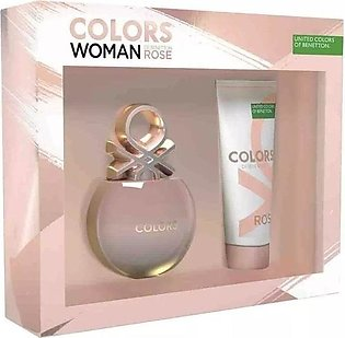 Benetton Colors Rose Woman Giftset For Her (EDT 80ml + Body Lotion 75ml)