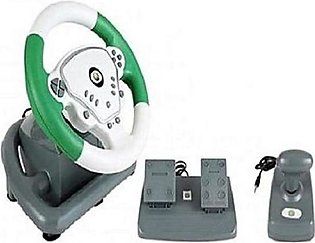 Vibration Steering Wheel For Xbox 360 & PC - Green & White