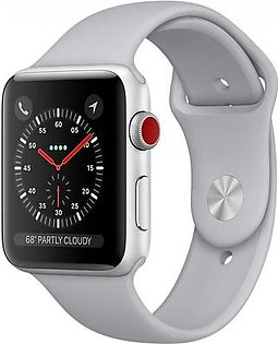 Apple Watch Series 3 - 42mm Silver Aluminum Case with Fog Sport Band, GPS+Cellular, watchOS 4, MQK12