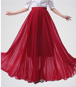 WOMEN'S CRIMSON RED CHIFFON LONG SKIRT