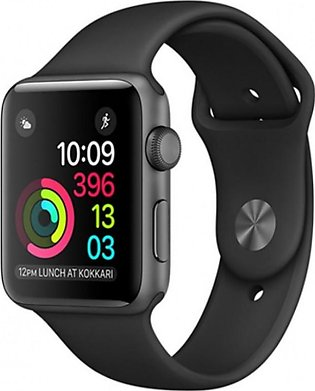 Apple iWatch Series 3 42mm Space Gray Aluminum Case with Black Sport Band - G...