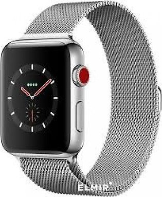 Apple Watch Series 3 GPS + Cellular 42mm Stainless Steel Case with Milanese L...