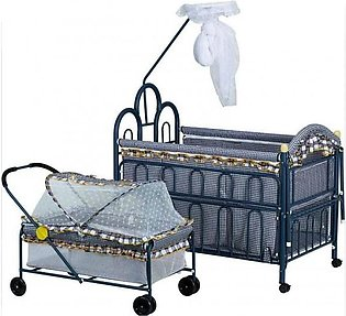 BEAUTIFUL PRINT BLUE METAL COT 227A