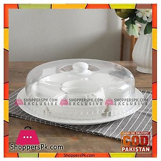 6 Sectioned Ceramic Dry Fruit Server With Acrylic Cover-14″