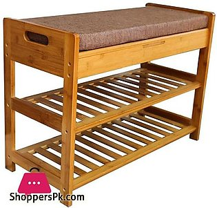 Bamboo 2 Tier Shoe Rack and Storage Bench Organizing Rack Bench Seat Perfect fo…