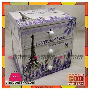 Floral Print Wood Material 3 Drawers Makeup Jewellery Accessories Box