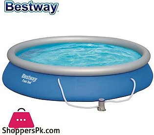 Bestway Fast Set Inflatable Pool Set Round Ring Above Ground Swimming Pool –  5…