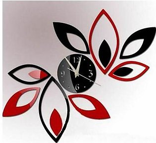 Flower Wall Clock – Black & Red