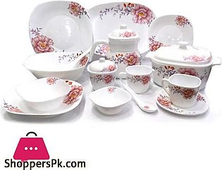 Opal Glassware 72 Pieces Square Dinner Set, Oven and Microwave Safe.