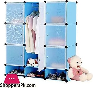 9 Cubes Cabinet Multipurpose Storage with Shoe Rack Blue