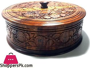 Wooden Carved Roti Box 10 inch