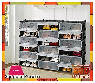 Intelligent Plastic Portable Cube Cabinet – Shoe Rack 18 Cube