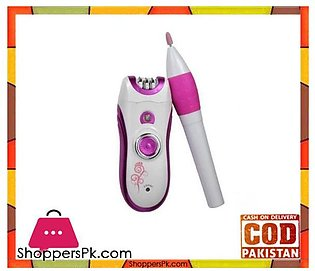Kemei  Km-3026 – 3-In-1 – Shaver & Nail Polish Epilator For Women – White & Pink