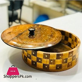 Wooden Brass Hand Crafted Work Wood Checked Roti Box 12 Inch
