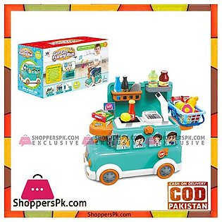 Funny School Bus Toy Pretend Play Toy Cash Registers for Kids