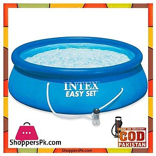 Intex Easy Set Swimming Pool With Sand Filter and Manual Air Pump -344 x 76″ ...