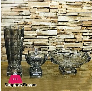 Decorative Glass Center Piece With Flower Vase with Beautiful Glass Candy Bowl
