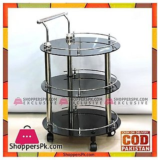 High Quality Round Glass Style Tea Trolley