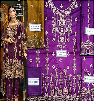 Hit Lawn Heavy Embroidered Suit With Chiffon Embroidery Duppata (Unstitched )...