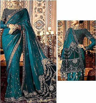Handwork Heavy Embroidered Chiffon Saree with Inner (CHI-460)