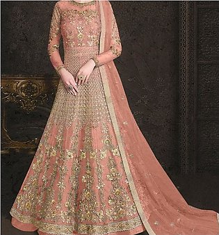 Wedding Fancy Sami Stitched Heavy Embroidery NET Dress Sequence Embroidery Wo...