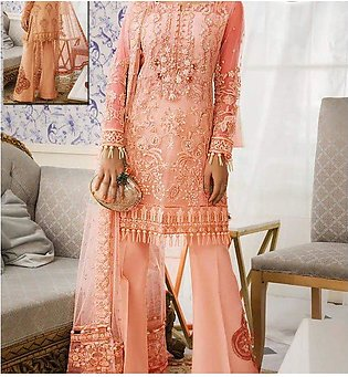 Latest Net Heavy Suit With Net Embroidery Duppata (Unstitched) (CHI-358)