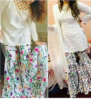 Lawn Embroidered Dress with Embroidered Trouser Un-Stitched 2-Pcs (DRL-508)