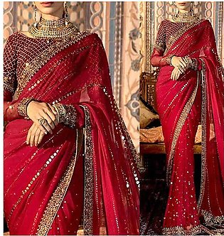 Handwork Heavy Embroidered Chiffon Saree with Inner (CHI-459)