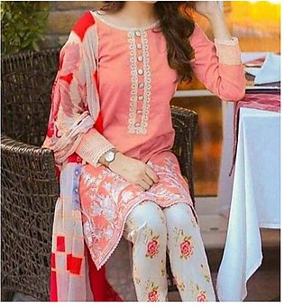 Trendy 2-Piece Heavy Embroidered Lawn Dress With Embroidered Trouser UnStitch...